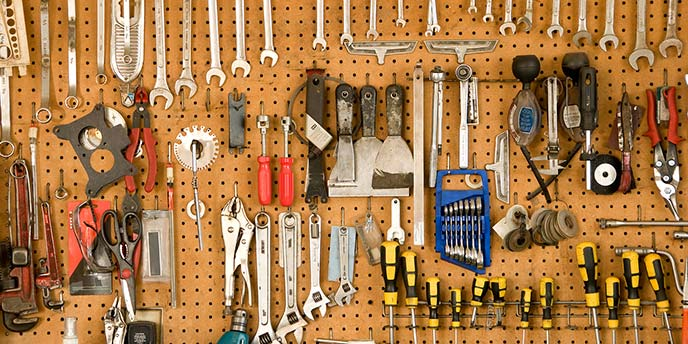 Peg Board with Organized Tools