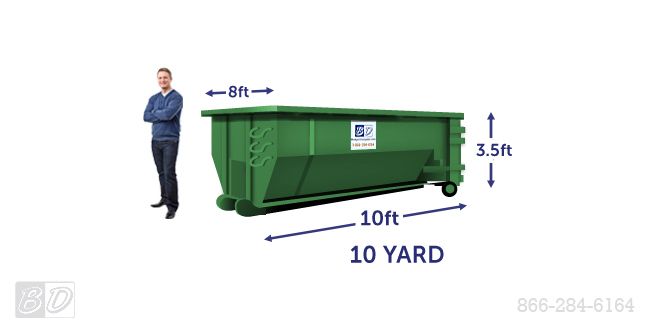 10 Yard Roll Off Dumpster Rental | 10 Cubic Yard Dumpster Dimensions