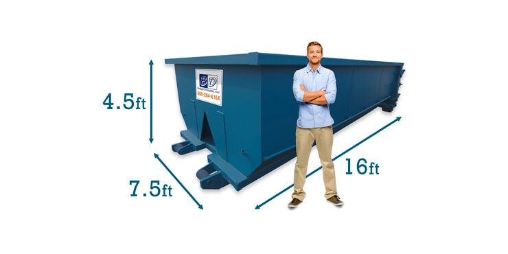 15 Yard Dumpster Rental Dimensions Budget Dumpster