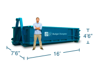 Approximate 15 Yard Dumpster Size and Dimensions.
