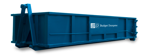 Blue roll off dumpster with the Budget Dumpster logo.