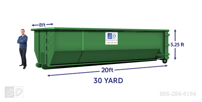 30 Yard Roll Off Dumpster Rental | 30 Cubic Yard Dumpster Dimensions