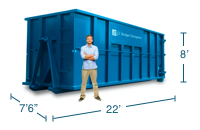 Approximate 40 Yard Dumpster Size and Dimensions.