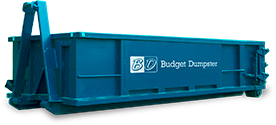 Blue Roll Off Dumpster with Budget Dumpster Logo