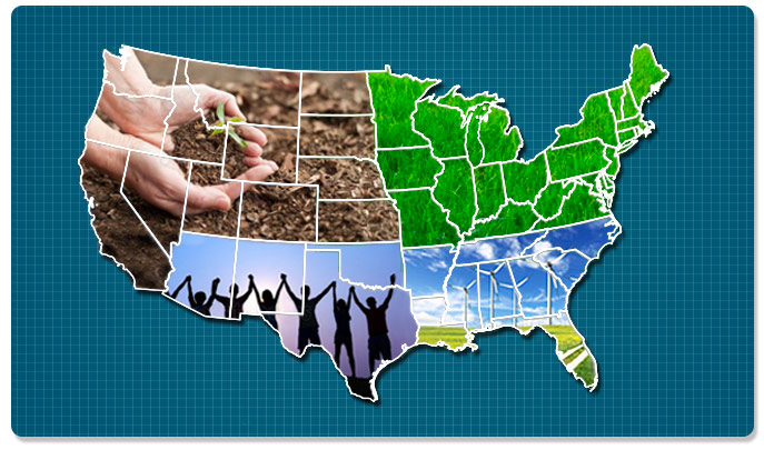 Map of the United States Featuring Sustainability Projects