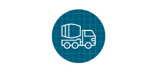Concrete truck icon in front of blue grid.