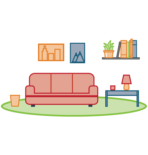 Decluttered Living Room With Colorful Furniture