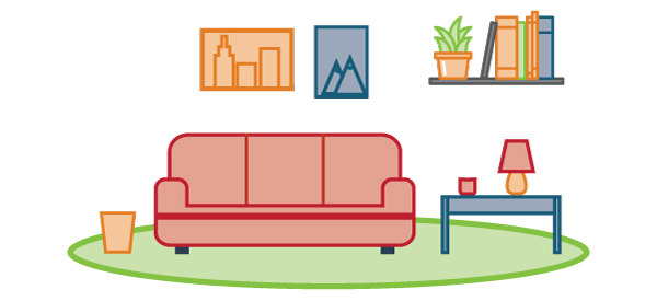 Line Art of a Decluttered Living Room
