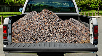 Gravel and Rocks in the Bed of a Pickup Truck
