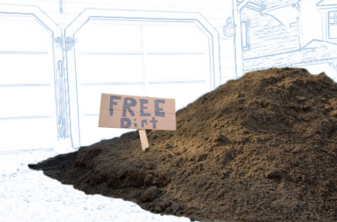 Free Dirt Sign on Pile of Dirt With Blueprint Background