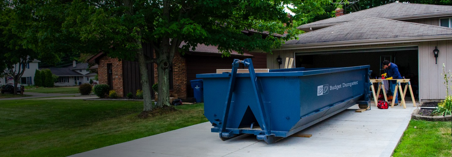 Roll Off Dumpster and Construction Project in Driveway