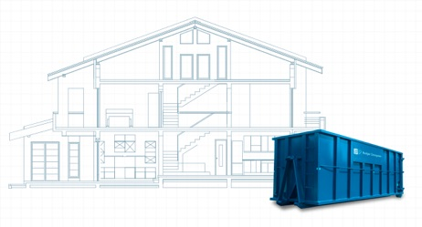 Dumpster Rental in Front of Architectural Designs for Home