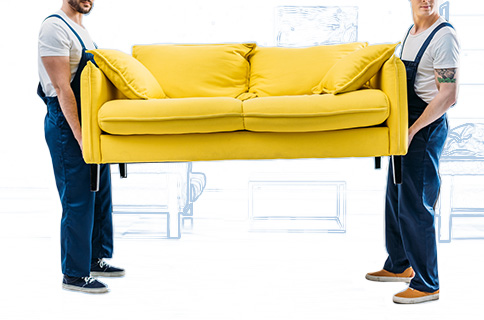 Two Men Carrying a Yellow Couch With Blueprint Background