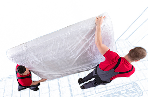 Workers Carrying Wrapped Mattress Into a Truck