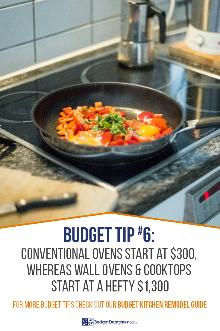 Remodeling your kitchen doesn't have to be quite so expensive. A good tip for saving on your kitchen remodel is to go with a conventional oven range, rather than separate wall ovens and cooktops. For more budget kitchen remodel tips, check out our guide!