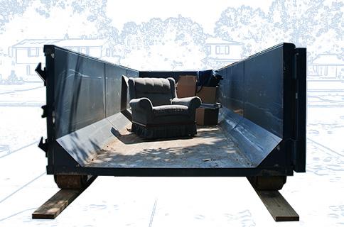 Dumpster Filled With Furniture on Blueprint Background