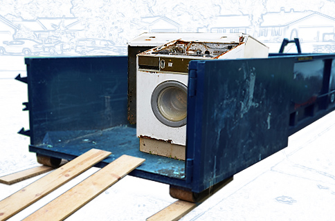 Dumpster Filled With Old Appliances on Blueprint Background