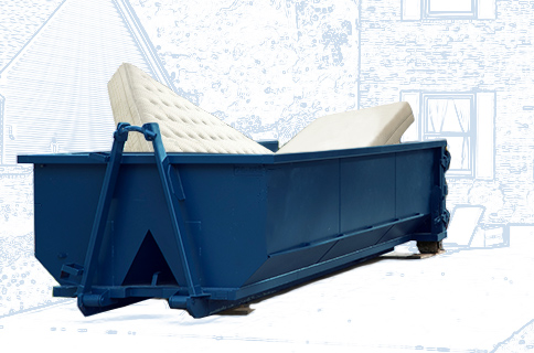 Dumpster Filled With Mattresses on Blueprint Background