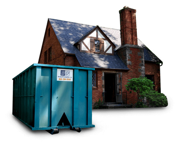 image of a house with residential dumpster