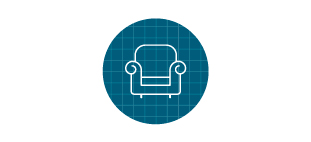 Armchair icon in front of blue grid.