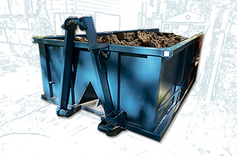 Dumpster Filled With Dirt on Blueprint Background