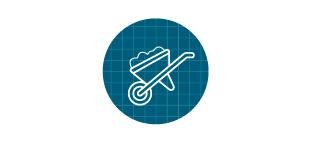 Wheelbarrow icon in front of blue grid.